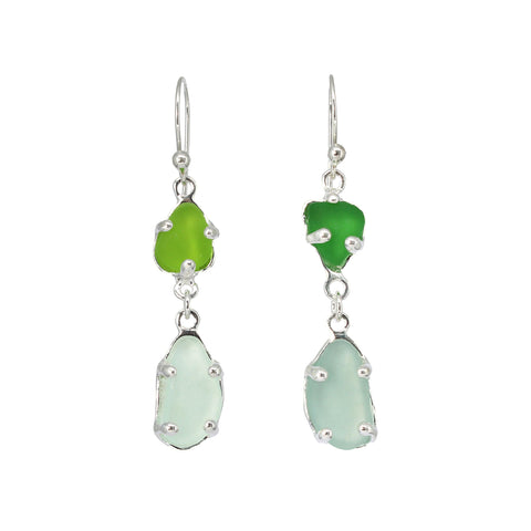 greens + blues sea glass earrings - tossed & found jewelry