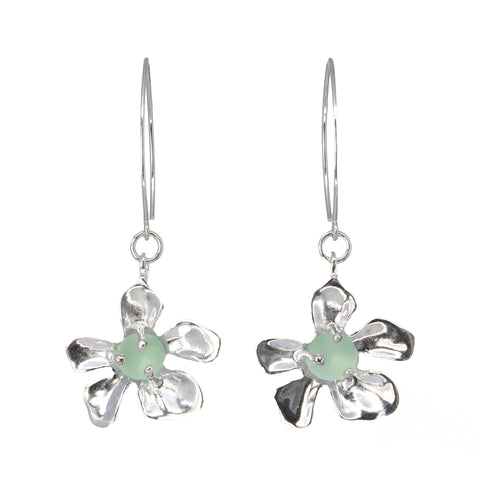 blooming plumeria seafoam sea glass earrings