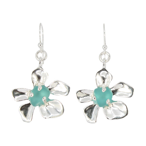 blooming plumeria seafoam sea glass earrings - tossed & found jewelry