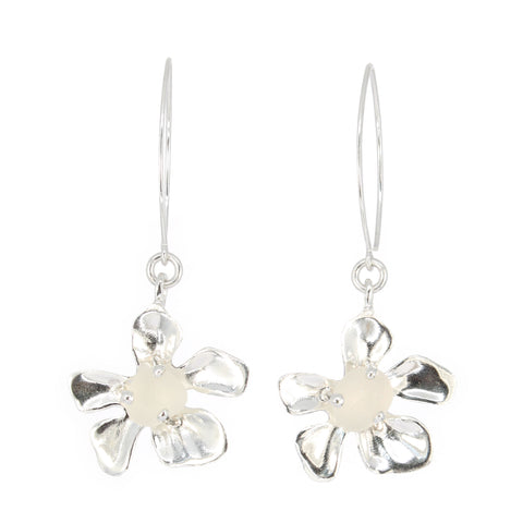 plumeria genuine white sea glass earrings - tossed & found jewelry