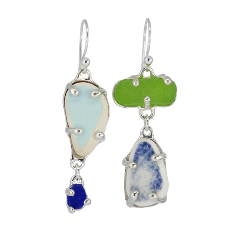 lime + blues sea pottery/sea glass earrings - tossed & found jewelry