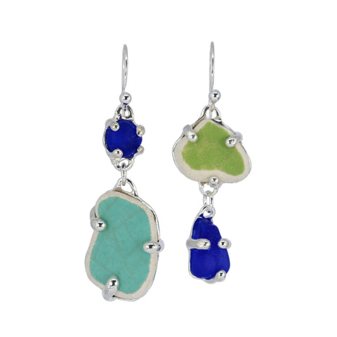 lime + cobalt + teal sea pottery/sea glass earrings - tossed & found jewelry