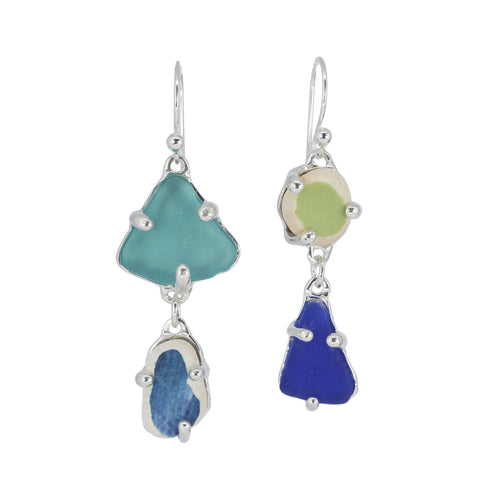 greens + blue sea pottery/sea glass earrings