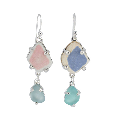 pink + purple + aqua sea pottery/sea glass earrings - tossed & found jewelry