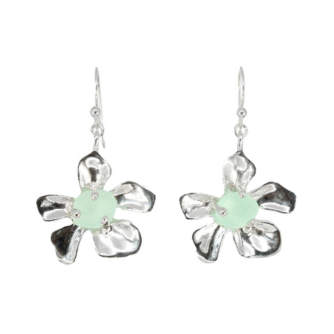 plumeria genuine seafoam sea glass earrings - tossed & found jewelry