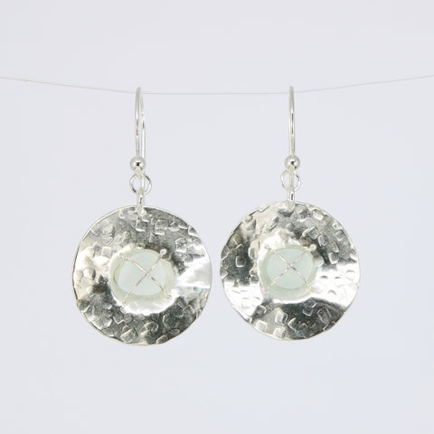 white sea glass textured disc earrings - tossed & found jewelry