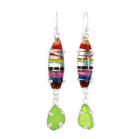 lime sea glass + surfite surfboard earrings - tossed & found jewelry