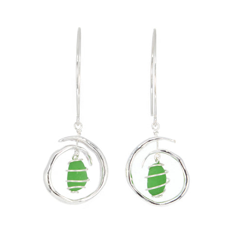 dangling green sea glass wave earrings - tossed & found jewelry