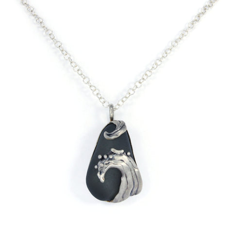 splashing wave grey sea glass necklace