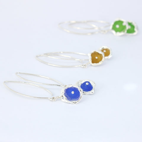 a touch of color sea glass earrings - tossed & found jewelry