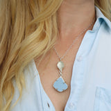 blue + white sea pottery/sea glass necklace - tossed & found jewelry