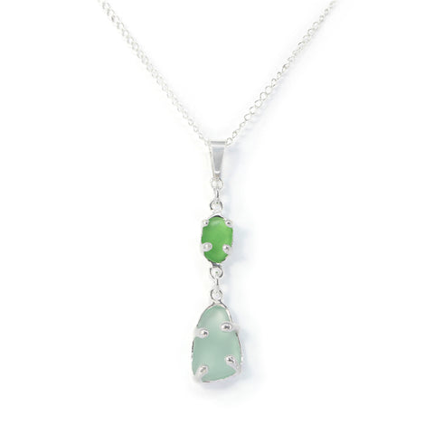 double green + blue sea glass necklace