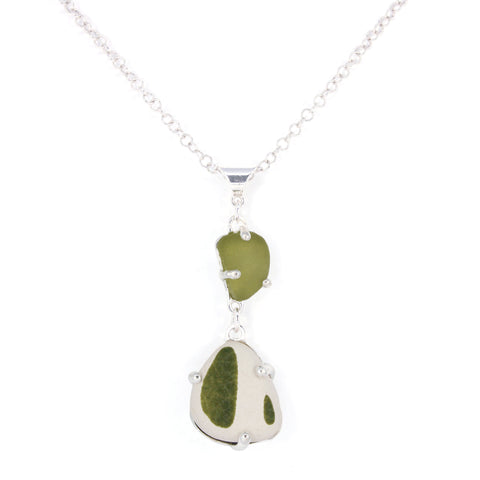 sage sea pottery + sea glass necklace - tossed & found jewelry