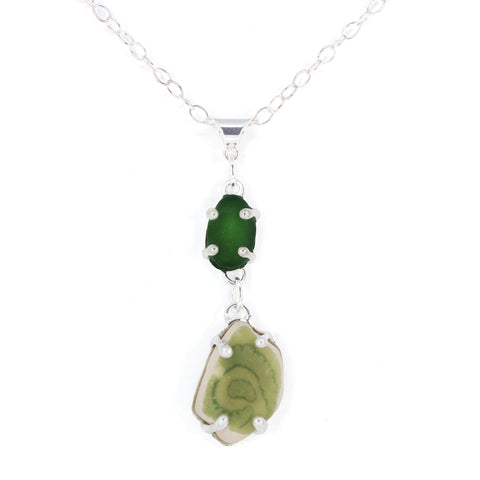 green swirl sea pottery/sea glass necklace - tossed & found jewelry