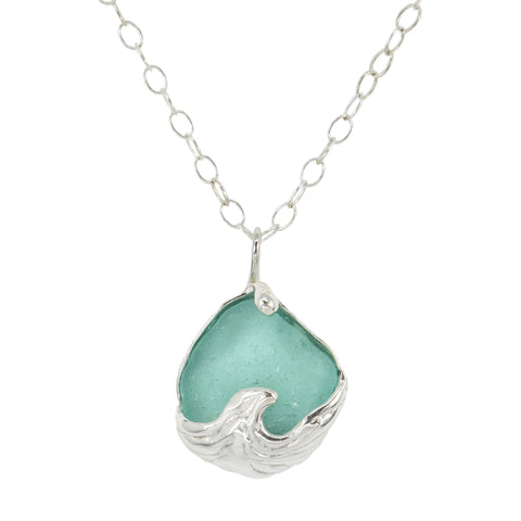 splashing wave aqua sea glass necklace - tossed & found jewelry