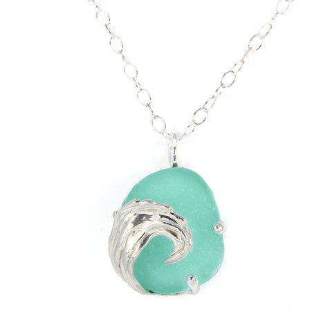 splashing wave luminescent turquoise sea glass necklace