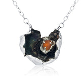 organic oxidized amber sea glass necklace - tossed & found jewelry