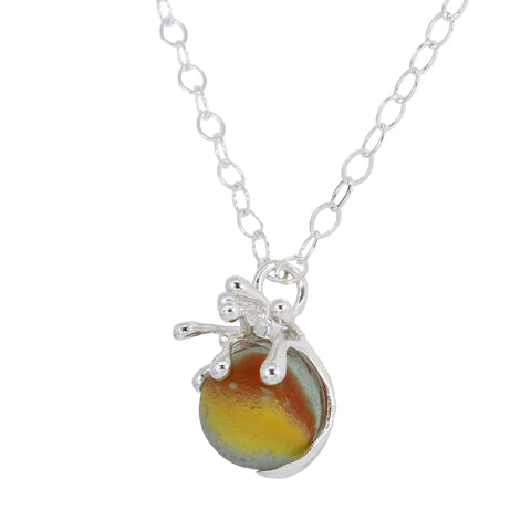 splashing wave yellow + orange spinning marble sea glass necklace - tossed & found jewelry