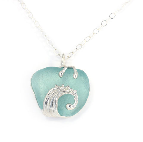 splashing wave turquoise sea glass necklace