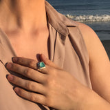 bright teal genuine sea glass ring