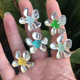 blooming plumeria yellow sea glass ring - tossed & found jewelry