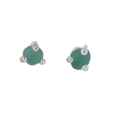 sea glass prong post earrings (multiple colors) - tossed & found jewelry