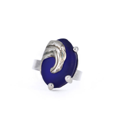 splashing wave genuine cobalt sea glass ring