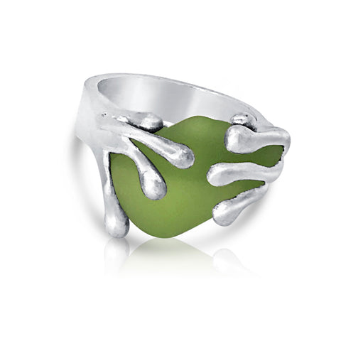 splashing wave genuine chartreuse sea glass ring