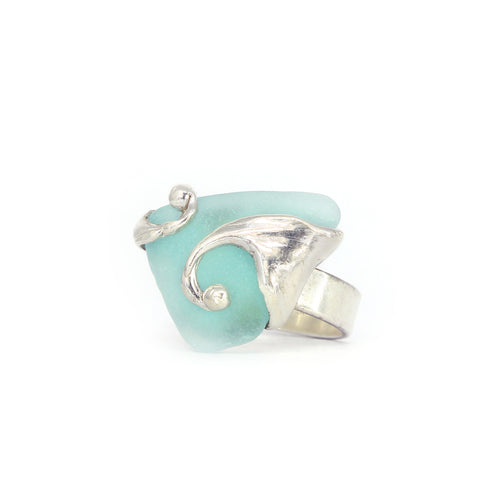 splashing wave genuine aqua sea glass ring