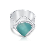 bright teal genuine sea glass ring - tossed & found jewelry