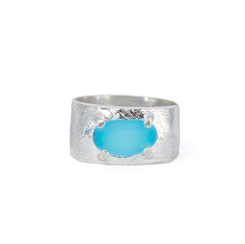 4 prong genuine bright turquoise sea glass textured ring
