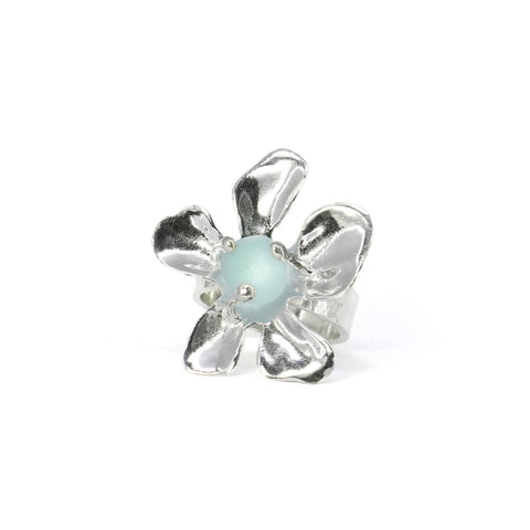 blooming plumeria pale blue sea glass ring