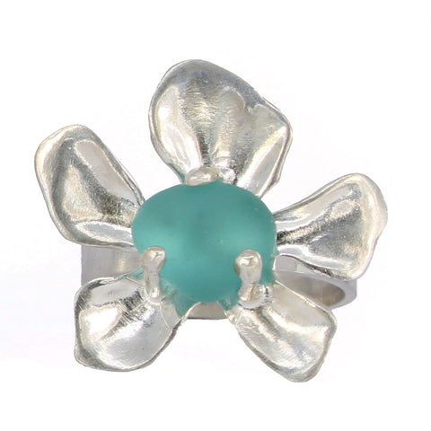 blooming plumeria turquoise sea glass ring - tossed & found jewelry