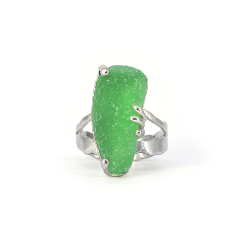 green sea glass split shank ring - tossed & found jewelry