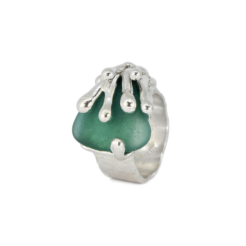teal green authentic sea glass splashing wave ring