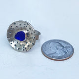 round urchin genuine cobalt sea glass ring - tossed & found jewelry