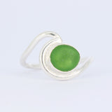 sea glass ocean wave bezel rings (multiple colors/sizes) - tossed & found jewelry