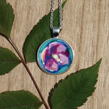 Pink Floral Original Acrylic Painting Artwork Pendant Necklaces