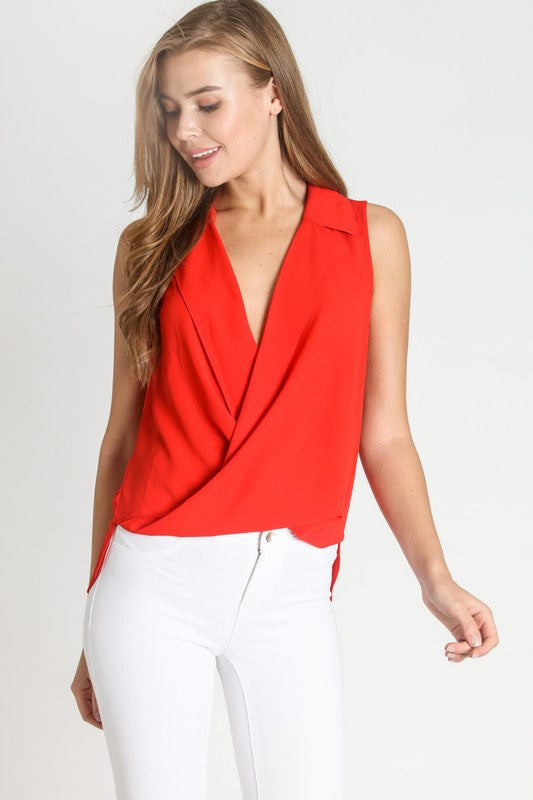 THE CRIMSON ESSENTIAL DRAPED TOP