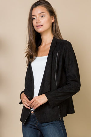 THE ESSENTIAL ASYMMETRIC SUEDETTE JACKET