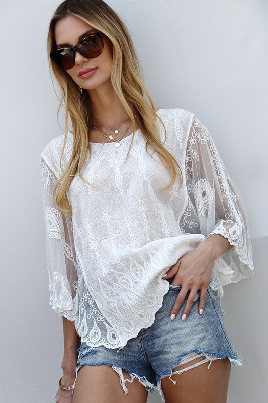 THE CONCH SHELL LACEY TOP