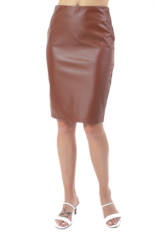 THE CRAWFORD LEATHER LOOK SKIRT