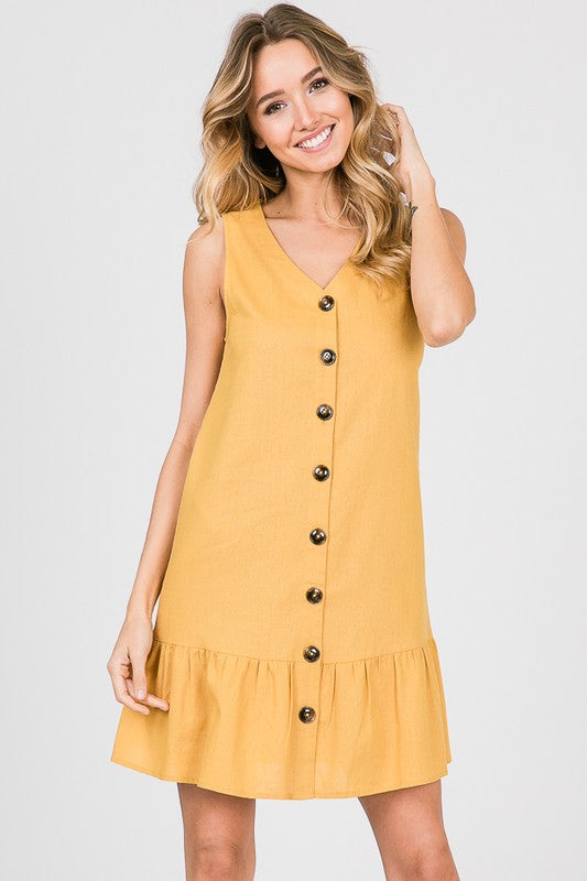 THE LA COMETA LINEN/COTTON DRESS - GOLDENROD