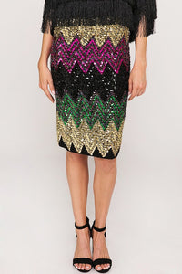THE GEMSTONE SEQUIN KNEE LENGTH SKIRT