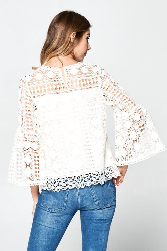THE SOFT WHITE CROCHET DETAIL TOP