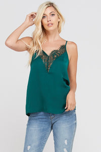 THE EYELASH LACE CAMI - TEAL