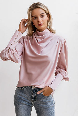 THE EXPECTATIONS SATIN SMOCK BLOUSE