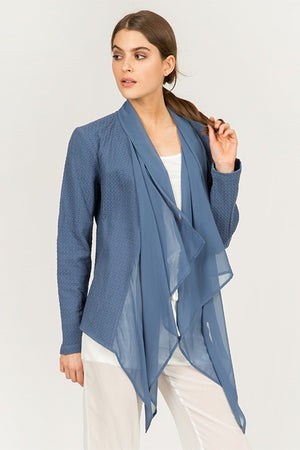 THE CHIC ME DRAPED JACKET - DUSTY BLUE