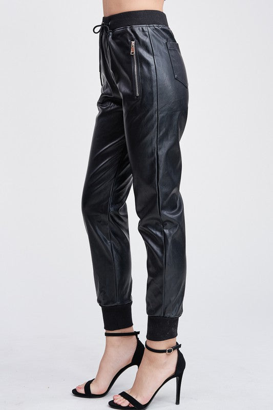 THE CITY LIMITS LEATHER LOOK JOGGERS