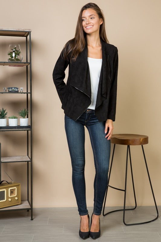 THE ESSENTIAL ASYMMETRIC BLACK SUEDETTE JACKET
